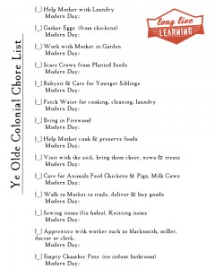Colonial Kids' Chore List