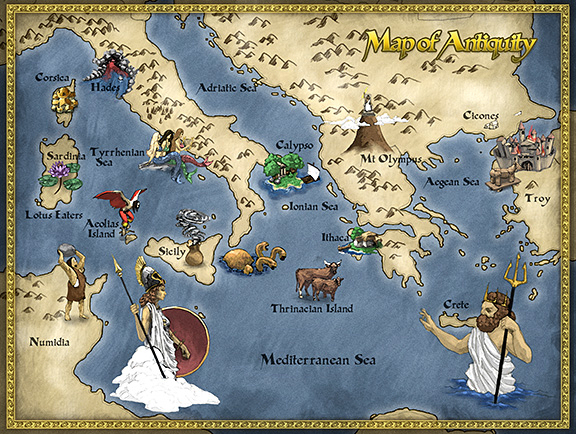 Greek Mythology: Greek God Family Tree & Mythological Maps ... on map of ephesus, map of macedonia, map of aegean sea, map of troy, map of corinth, map of middle east, map of ireland, map of mount olympus, map of mongolia, map of mediterranean, map mediterranean region, map of europe, map of united states, map of santorini, map of africa, map of judea, map of european countries, map of athens, map of the west indies, map of india,