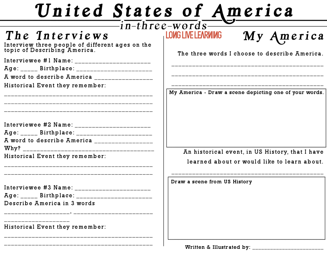 Newspaper interviews printable describe america in three for Create your own newspaper template