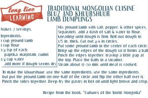 Recipe Card: Mongolian Buuz & Khuurshuur