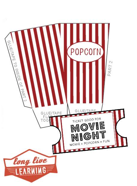 Movie Night Pack! Popcorn Boxes & Ticket Template
