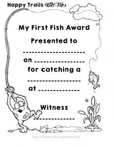 Kids My First Fish Coloring Page Award