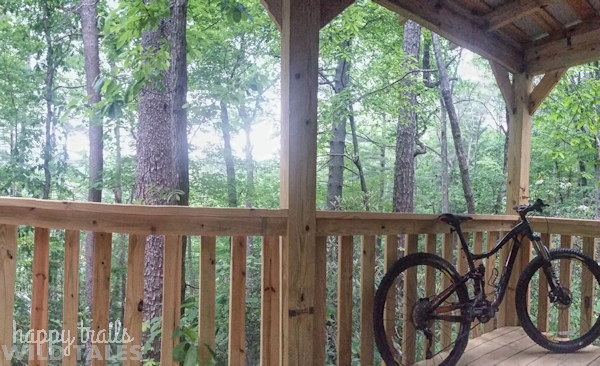 My bike chillin' on the porch of the Unicoi Barrel Cabin